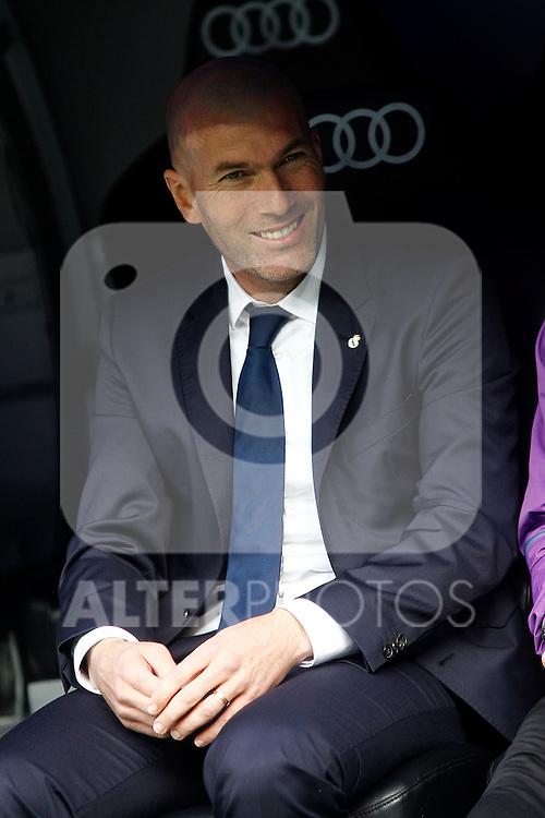 Real Madrid's coach Zinedine Zidane during La Liga match. February 18,2017. (ALTERPHOTOS/Acero)