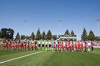 Team line-up during national anthem. FC Gold Pride defeated the Boston Breakers, 2-1, in their home opener on April 5, 2009 at Buck Shaw Stadium in Santa Clara, CA.