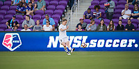 Orlando, FL - Saturday March 24, 2018: Utah Royals defender Becca Moros (2) crosses the ball prior to a regular season National Women's Soccer League (NWSL) match between the Orlando Pride and the Utah Royals FC at Orlando City Stadium. The game ended in a 1-1 draw.