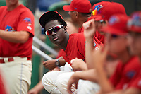 Clearwater Threshers pitcher Franklyn Kilome (47) in the dugout during a game against the Palm Beach Cardinals on April 15, 2017 at Spectrum Field in Clearwater, Florida.  Clearwater defeated Palm Beach 2-1.  (Mike Janes/Four Seam Images)