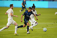 SAN JOSE, CA - SEPTEMBER 5: Chris Wondolowski #8 of the San Jose Earthquakes is defended by Lalas Abubakar #6 of the Colorado Rapids during a game between Colorado Rapids and San Jose Earthquakes at Earthquakes Stadium on September 5, 2020 in San Jose, California.