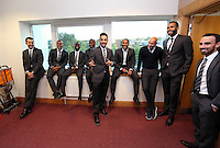 Pictured L-R: Lukasz Fabianski, Wayne Routledge, Nathan Dyer, Dwight Tiendalli, Neil Taylor, Ashley Williams, Jonjo Shelvey, Kyle Bartley and Leon Britton Wednesday 20 May 2015<br /> Re: Swansea City FC Awards Dinner at the Liberty Stadium, south Wales, UK