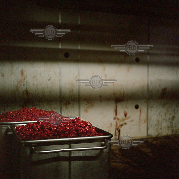 Kangaroo meat waiting to be packaged in an abattoir which supplies meat for the pet food industry.