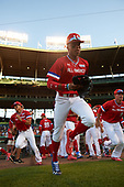 Jordyn Adams (3) of Green Hope High School in Cary, North Carolina takes the field  during the Under Armour All-American Game presented by Baseball Factory on July 29, 2017 at Wrigley Field in Chicago, Illinois.  (Mike Janes/Four Seam Images)
