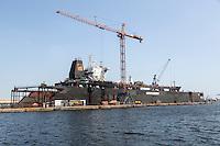 Dakar, Senegal.  Ship in Dakarnave Floating Dock for Maintenance, Dakar Port.