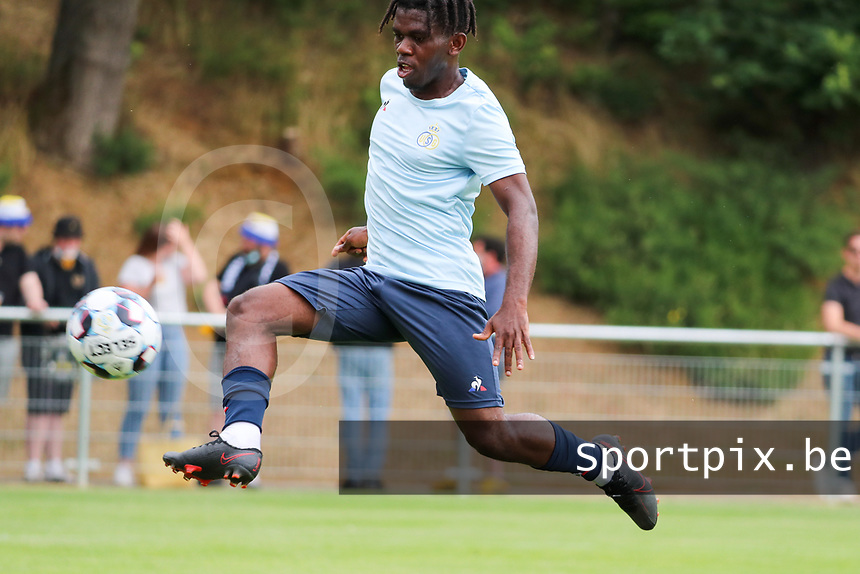 Pedro Lubamba (29) of Union in action during the warm up before from a preseason friendly soccer game between Tempo Overijse and Royale Union Saint-Gilloise, Saturday 29th of June 2021 in Overijse, Belgium. Photo: SPORTPIX.BE | SEVIL OKTEM