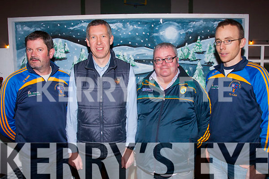 Football<br /> ---------<br /> Pictured at the 125th Anniversary celebration of Keel GAA club last Friday night in the Community hall,Keel were L-R Brian Prendergast,Padraig Barty,Colin Clifford&PJ Ryan.
