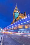 Europe, Great Britain, Scotland, Edinburgh,The Balmoral Hotel on Princes Stree at Twilight