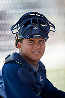 Atlanta Braves catcher Wiston Cerrato (70) during a Minor League Extended Spring Training game against the Tampa Bay Rays on April 15, 2019 at CoolToday Park Training Complex in North Port, Florida.  (Mike Janes/Four Seam Images)