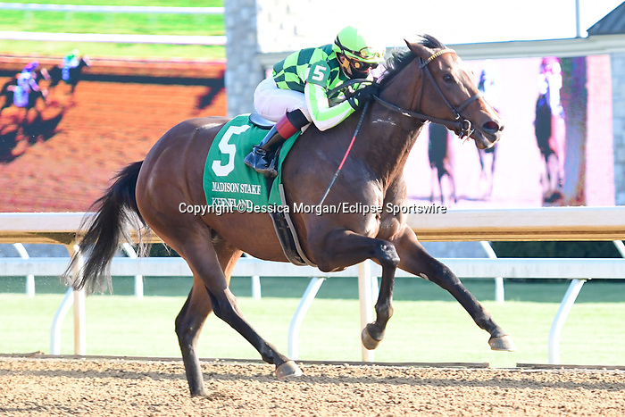 April 03, 2021: Kimari #5 ridden by Joel Rosario wins the Madison Stakes (Grade 1) on Blue Grass Stakes Day at Keeneland Race Course in Lexington, Kentucky on April 03, 2021. Jessica Morgan/Eclipse Sportswire/CSM