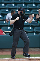 Home plate umpire Mitch Leikam calls a batter out on strikes during the game between the Llamas de Hickory and the Winston-Salem Rayados at Truist Stadium on July 6, 2021 in Winston-Salem, North Carolina. (Brian Westerholt/Four Seam Images)