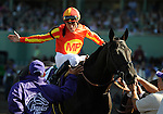 25 October 2008: Jockey Garret Gomez gets a high-five from a valet after winning the Sentient Breeders Cup Sprint aboard Midnight Lute at Santa Anita Race Track in Arcadia, California.