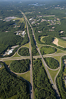 aerial view of cloverleaf, Rt. 495 & Rt. 9, Southborough, MA