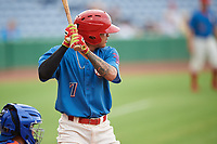 Clearwater Threshers shortstop Arquimedes Gamboa (7) at bat during a game against the St. Lucie Mets on August 11, 2018 at Spectrum Field in Clearwater, Florida.  St. Lucie defeated Clearwater 11-0.  (Mike Janes/Four Seam Images)