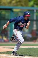 Atlanta Braves infielder Reed Harper (82) during a minor league spring training game against the Washington Nationals on March 26, 2014 at Wide World of Sports in Orlando, Florida.  (Mike Janes/Four Seam Images)