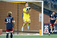 FOXBOROUGH, MA - SEPTEMBER 04: Joe Rice #51 of New England Revolution II saves a looping attempt at goal during a game between Forward Madison FC and New England Revolution II at Gillette Stadium on September 04, 2020 in Foxborough, Massachusetts.