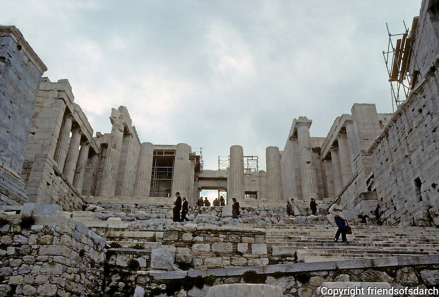 Athens: Approach to Acropolis. Ruins of Propylaea ahead. Photo '82.