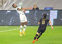 LOS ANGELES, CA - SEPTEMBER 13: Jeremy Ebobisse #17 of the Portland Timbers traps a ball during a game between Portland Timbers and Los Angeles FC at Banc of California stadium on September 13, 2020 in Los Angeles, California.