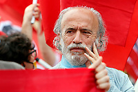 The spokesman of Communist Party of Workers, Marco Ferrando attends the demonstration of the left wing movements, OSA, Alternative Students Opposition, Power to People, USB, Base Trade Union, Communist Party of Workers outside Villa Pamphilj, where the Italian Premier convened the States General of Economy. Rome (Italy), June 13th 2020<br /> <br /> Photo Samantha Zucchi Insidefoto