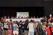 Rio de Janeiro, Brazil. Imperatriz Leopoldinense samba school; preparations for carnival; members of the press at a pre-carnival press conference.