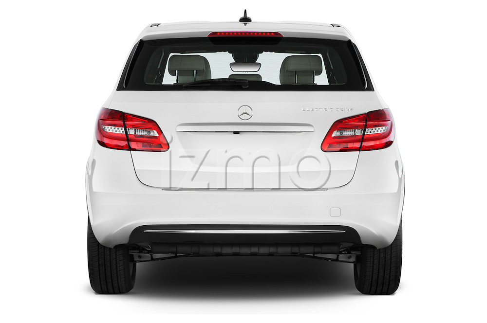 Straight rear view of a 2014 Mercedes Benz B-Class Electric Drive 5 Door MPV Rear View  stock images