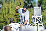 Tim Leedy, of Reno, drills in the Nevada Day Rock Drilling competition in Carson City, Nev., on Saturday, Oct. 31, 2015. <br /> Photo by Cathleen Allison