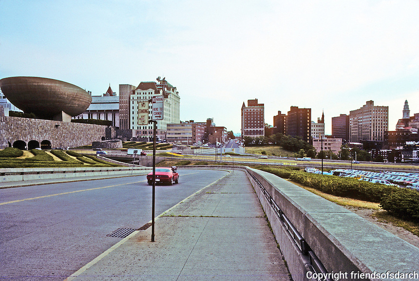 """Albany: Acres of emptiness bordering east side of Albany Mall, or rather, """"Empire State Plaza"""".  Photo '88."""