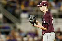 Mississippi State Bulldog starting pitcher Chris Straton #28 looks in for the catchers sign against the LSU Tigers during the NCAA baseball game on March 16, 2012 at Alex Box Stadium in Baton Rouge, Louisiana. LSU defeated Mississippi State 3-2 in 10 innings. (Andrew Woolley / Four Seam Images)