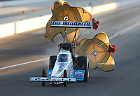 Nov 1, 2019; Las Vegas, NV, USA; NHRA top fuel driver Justin Ashley during qualifying for the Dodge Nationals at The Strip at Las Vegas Motor Speedway. Mandatory Credit: Mark J. Rebilas-USA TODAY Sports