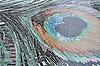 Peacock, a hand-cut jewel glass mosaic, is shown in Obsidian, Jasper, Tortoise Shell, Peacock Topaz, Peridot, Garnet, Tiger's Eye, Aventurine, Malachite and Opal.