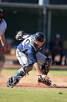 Milwaukee Brewers catcher Tyler Roberts (26) during an Instructional League game against the Los Angeles Angels on October 11, 2013 at Tempe Diablo Stadium Complex in Tempe, Arizona.  (Mike Janes/Four Seam Images)