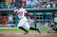 Ke'Bryan Hayes (24) of the Indianapolis Indians follows through on his swing at Victory Field on May 14, 2019 in Indianapolis, Indiana. The Indians defeated the RailRiders 4-2. (Andrew Woolley/Four Seam Images)