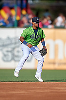 Kane County Cougars Eddie Hernandez (14) during a Midwest League game against the Dayton Dragons on July 20, 2019 at Northwestern Medicine Field in Geneva, Illinois.  Dayton defeated Kane County 1-0.  (Mike Janes/Four Seam Images)