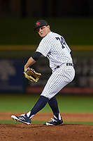 Scottsdale Scorpions relief pitcher Andrew Schwaab (74), of the New York Yankees organization, delivers a pitch to the plate during an Arizona Fall League game against the Peoria Javelinas on October 20, 2017 at Scottsdale Stadium in Scottsdale, Arizona. the Javelinas defeated the Scorpions 2-0. (Zachary Lucy/Four Seam Images)
