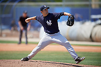 New York Yankees pitcher Kolton Mahoney (10) delivers a pitch during a minor league Spring Training game against the Toronto Blue Jays on March 30, 2017 at the Englebert Complex in Dunedin, Florida.  (Mike Janes/Four Seam Images)