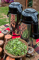 Peru, Urubamba Valley, Quechua Village of Misminay.  Cultural Tourism.  Villagers Display Local Agricultural  Products: Muna Mint, Minthostachys Mollis, used to make tea.