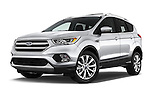 Stock pictures of low aggressive front three quarter view of 2018 Ford Escape Titanium 5 Door Suv Low Aggressive
