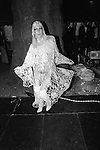 Westminster, London. 1981<br /> Bopping the night away at the annual Berkeley Square Ball. A revealer in a see through Bohemian crochet dress and matching 1920's cloche cap,  and above the knee patent leather white boots.
