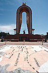 A statue and a main square showing a map of the silk road in Dushanbe, capital city of Tajikistan.