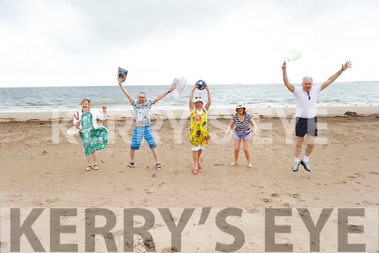 Members of the Tralee Toastmasters Club jumping for joy as they enjoy their beach Staycation on Derrymore beach on Tuesday. <br />  L to r: Aine Quinn, Sergey Udaltsov,, Lily Tangney, Sonya Elston and John McGillicuddy