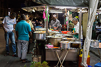 Street Food Stand at Night, George Town, Penang, Malaysia.