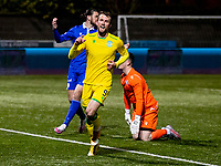 V5th April 2021; Palmerston Park, Dumfries, Scotland; Scottish Cup Third Round, Queen of the South versus Hibernian; Christian Doidge of Hibernian celebrates after scoring his teams second goal for 0-2 in the 67th minute
