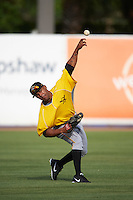 Bradenton Marauders center fielder Elvis Escobar (16) during practice before a game against the Tampa Yankees on April 11, 2016 at George M. Steinbrenner Field in Tampa, Florida.  Tampa defeated Bradenton 5-2.  (Mike Janes/Four Seam Images)
