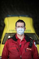 Paramedic in the city of Drammen wearing personal protective equipment (PPE) in order to transport patients during the Covid-19 , coronaviraus, pandemic.<br /> <br /> <br /> <br /> <br /> ©Fredrik Naumann/Felix Features