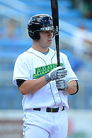 Jamestown Jammers catcher Dave Valesente (19) during a game against the Brooklyn Cyclones on August 4, 2013 at Russell Diethrick Park in Jamestown, New York.  Jamestown defeated Brooklyn 9-5.  (Mike Janes/Four Seam Images)