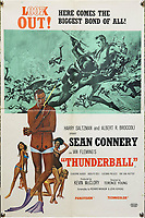 BNPS.co.uk (01202) 558833. <br /> Pic: Ewbanks/BNPS<br /> <br /> Pictured: Also included in the sale is this 20 x 30 inch Double Crown poster for Thunderball. Estimate £2,500.<br /> <br /> A rare movie poster for the James Bond film Thunderball that was designed to be torn into four pieces is tipped to sell for £12,000.<br /> <br /> The quad poster contains four individual works of art promoting the 1965 movie.<br /> <br /> The panels show Sean Connery as 007 flying through the air in a jet suit, being mobbed by glamorous women, fighting a scuba diver and sat on a beach poised with weapon in hand.