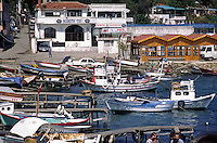 Boats at anchor in a local village on the BOSPHORUS (the waterway whch connects the Meditarranean & the Black Sea) - Istanbul, Turkey