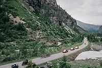 breakaway group up the snow-patched Cormet de Roselend (1977m) <br /> <br /> Stage 7: Moûtiers > Saint-Gervais Mont Blanc (129km)<br /> 70th Critérium du Dauphiné 2018 (2.UWT)