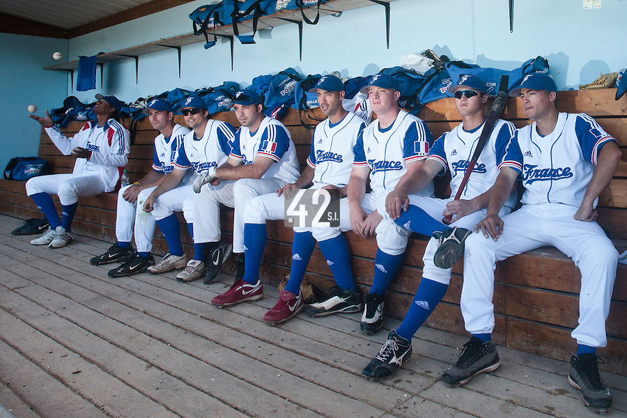 31 July 2010: Harold Castillo, Robin Allemand, Florian Peyrichou, Gaspard Fessy, Jerome Rousseau, David Gauthier, Kenji Hagiwara, Romain Scott-Martinez are seen in the dugout prior to Greece 14-5 win over France, at the 2010 European Championship, in Heidenheim, Germany.
