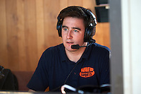 Batavia Muckdogs play-by-play announcer Brendan Glasheen during a game against the Auburn Doubledays on September 7, 2015 at Falcon Park in Auburn, New York.  Auburn defeated Batavia 11-10 in ten innings.  (Mike Janes/Four Seam Images)